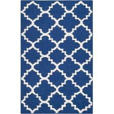 Dhurries Dark Blue/Ivory Area Rug