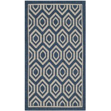 Courtyard Navy/Beige Outdoor Rug
