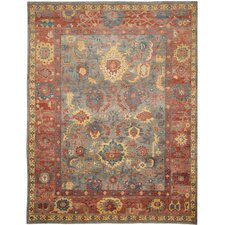 Sultanabad Grey / Red Rug