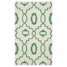 Dhurries Ivory/Green Area Rug