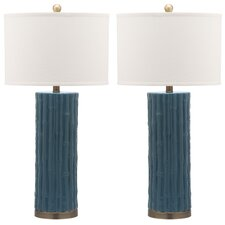 "Bamboo Column 30.5"" H Table Lamp with Drum Shade (Set of 2)"