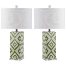 "Diamonds 27"" H Table Lamp with Drum Shade (Set of 2)"