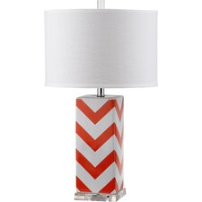Chevron Stripe Table Lamp with Drum Shade (Set of 2)