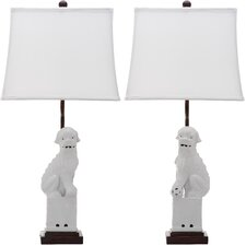 """Foo Dog 28"""" H Table Lamp with Bell Shade (Set of 2)"""