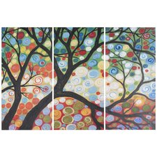 Cherry Blossom 3 Piece Painting Print on Canvas Set