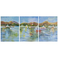 Sailors Cove 3 Piece Painting Print on Canvas Set
