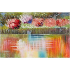 Azalea Reflections 2 Piece Painting Print on Canvas Set