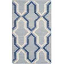 Dhurries Light Blue / Dark Blue Contemporary Rug