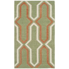 Dhurries Green / Orange Contemporary Area Rug