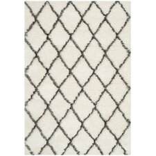 Moroccan Shag Ivory/Grey Geometric Contemporary Rug