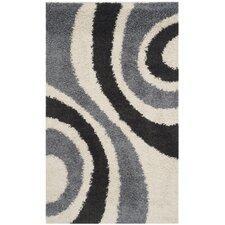 Shag Ivory / Grey Contemporary Rug