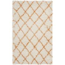 Moroccan Shag Ivory / Tangerine Geometric Rug