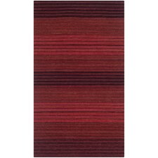 Marbella Red Striped Contemporary Rug