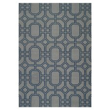 Dhurries Grey/Dark Blue Rug