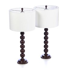 """Jenna Stacked Ball 31"""" H Table Lamp with Drum Shade (Set of 2)"""