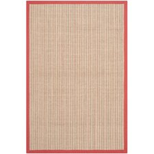 Natural Fiber Red Border Area Rug