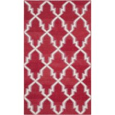 Dhurries Red/Ivory Area Rug