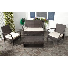 Avaron 4 Piece Deep Seating Group in Brown with Cushions