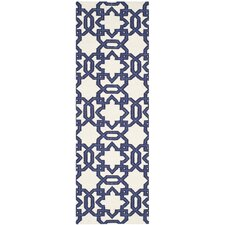 Dhurries Ivory/Purple Area Rug