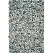 Leather Shag Light Blue Rug