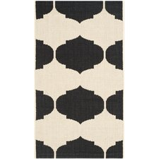 Courtyard Beige / Black Contemporary Rug