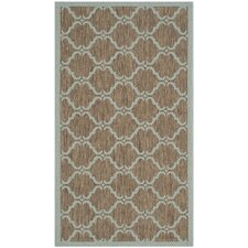 Courtyard Brown / Aqua Contemporary Rug