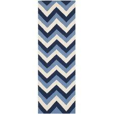 Dhurries Navy / Light Blue Chevron Area Rug