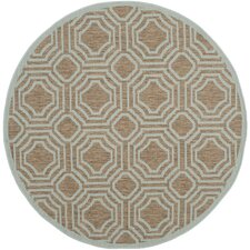 Courtyard Brown / Aqua Geometric Rug