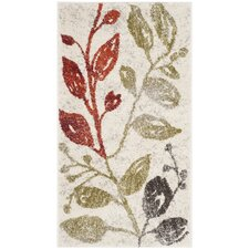 Porcello Ivory / Green Floral and Plant Rug