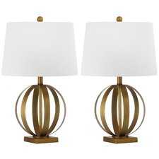 """Euginia Sphere 24.5"""" H Table Lamp with Drum Shade (Set of 2)"""