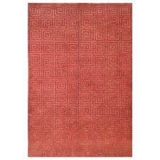 Tibetan Greek Key Rust Area Rug