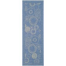 Courtyard Blue/Natural Circle Outdoor Rug