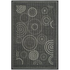 Courtyard Black/Sand Circle Outdoor Rug