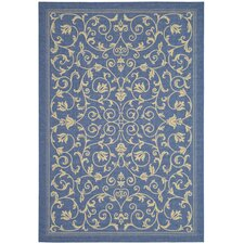 Courtyard Floral Blue/Natural Outdoor/Indoor Area Rug
