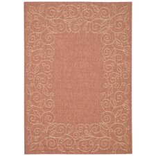 <strong>Safavieh</strong> Courtyard Rust/Sand Leaves Rug