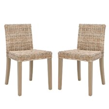 <strong>Safavieh</strong> Charlotte Wicker Parson Chair (Set of 2)