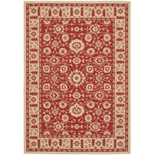 <strong>Safavieh</strong> Courtyard Red/Crème Flowers Rug