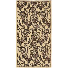 <strong>Safavieh</strong> Courtyard Crème/Black Leaves Rug