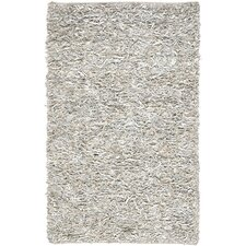 Leather Shag White Rug