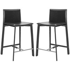 "<strong>Safavieh</strong> Anastasia 24"" Bar Stool with Cushion (Set of 2)"