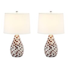 "Mother Of Pearl 19.25"" H Table Lamp with Empire Shade (Set of 2)"