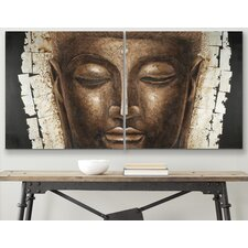 Buddha 2 Piece Graphic Art on Canvas Set