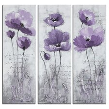 Poppy 3 Piece Painting Print on Canvas Set