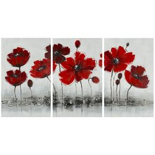 Works Poppy 3 Piece Graphic Art on Canvas Set