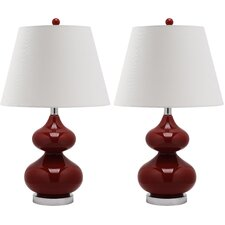 "Eva Double Gourd 24"" H Table Lamp with Empire Shade (Set of 2)"