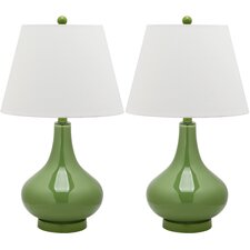 Adams Gourd Table Lamp with Empire Shade (Set of 2)