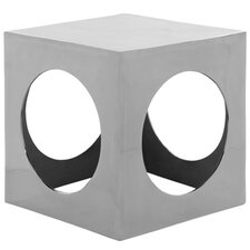 Tellurium Cube Stool in Polished Aluminum