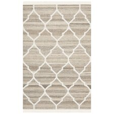 Natural Kilim Light Grey / Ivory Dhurrie Rug