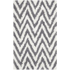 Ivory & Gray Shag Area Rug