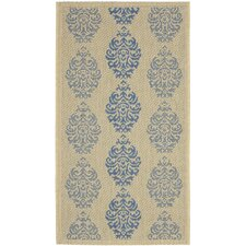 Courtyard Natural / Blue Outdoor Area Rug